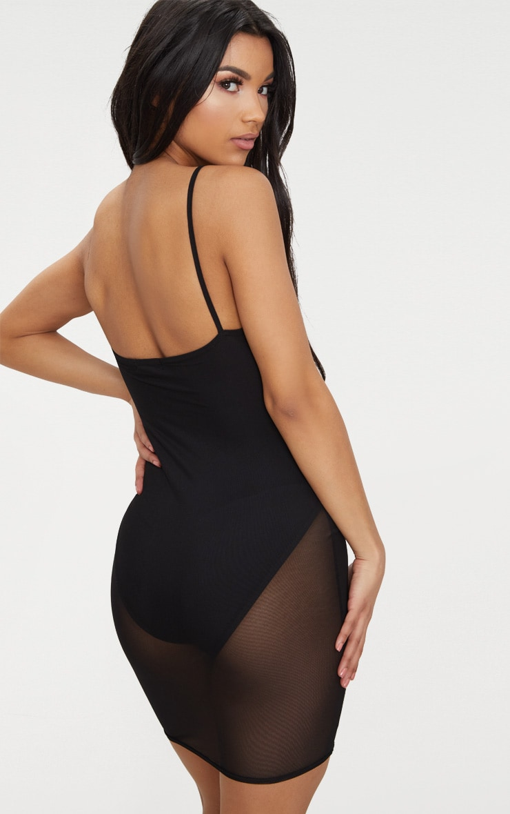 Black Mesh Strappy Lace Up Detail Sheer Bodycon Dress 2