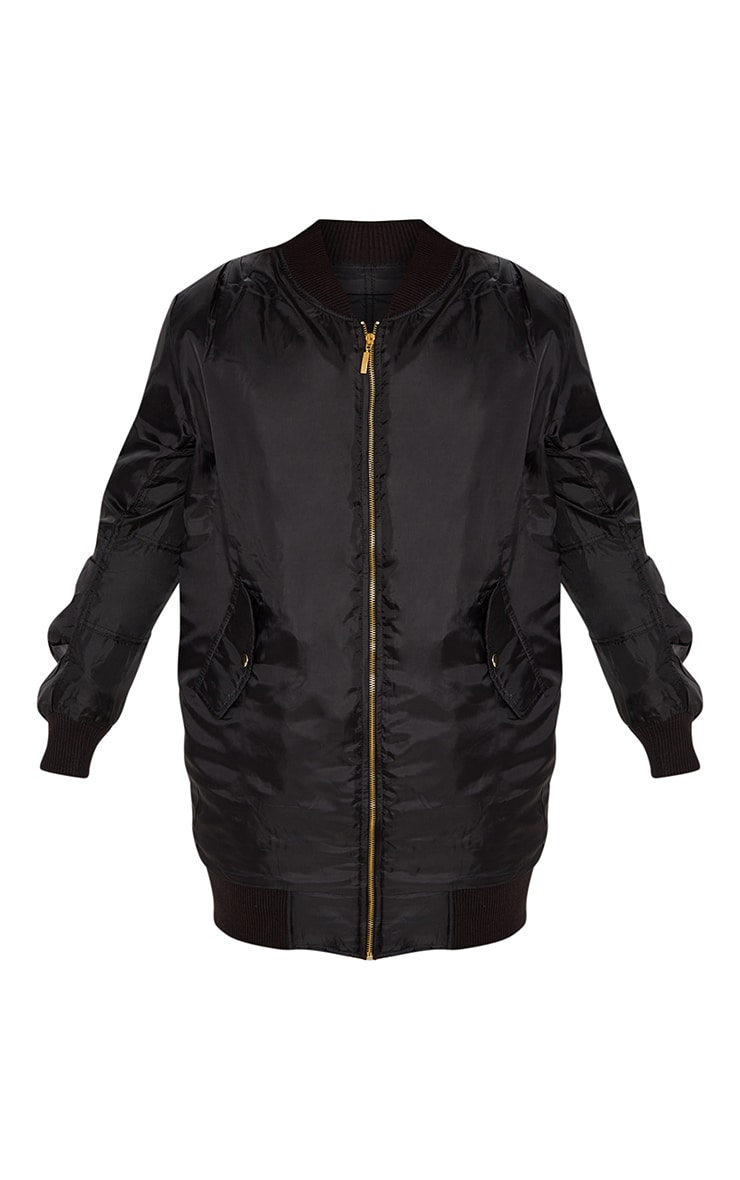 Shelbi Black Longline Bomber Jacket 3