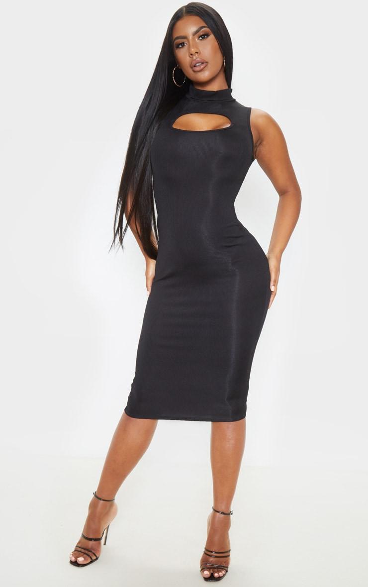 Black High Neck Cut Out Midi Dress 1
