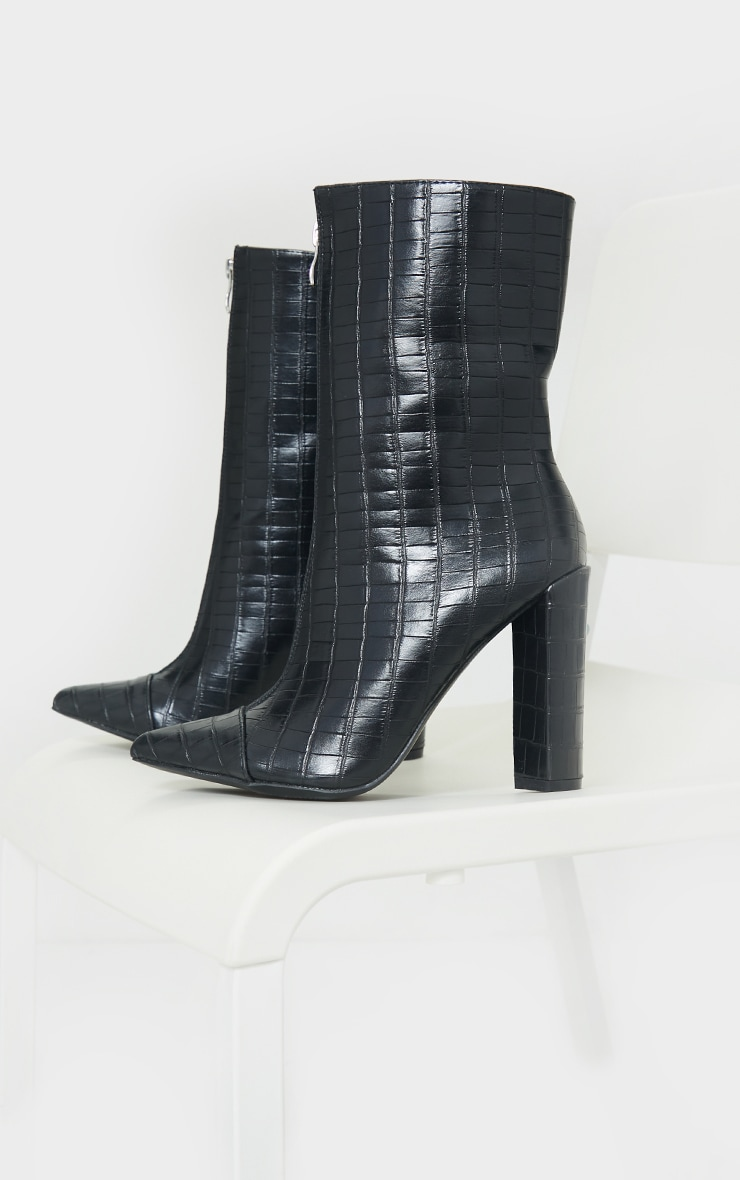 Black Zip Front High Block Heeled Ankle Boots 4