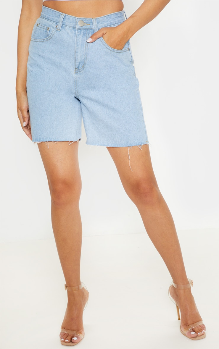 Light Wash Raw Hem Mom Shorts 2