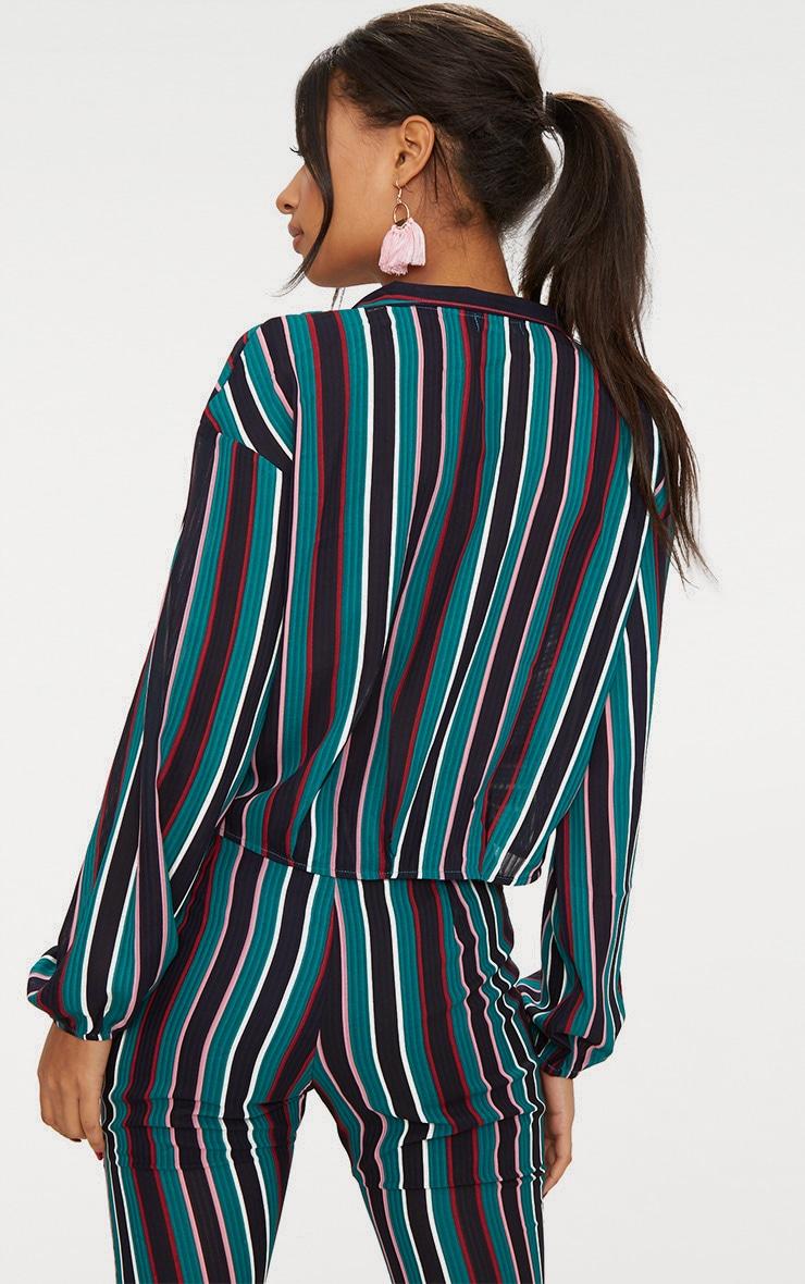 Teal Stripe Collared Wrap Shirt 2
