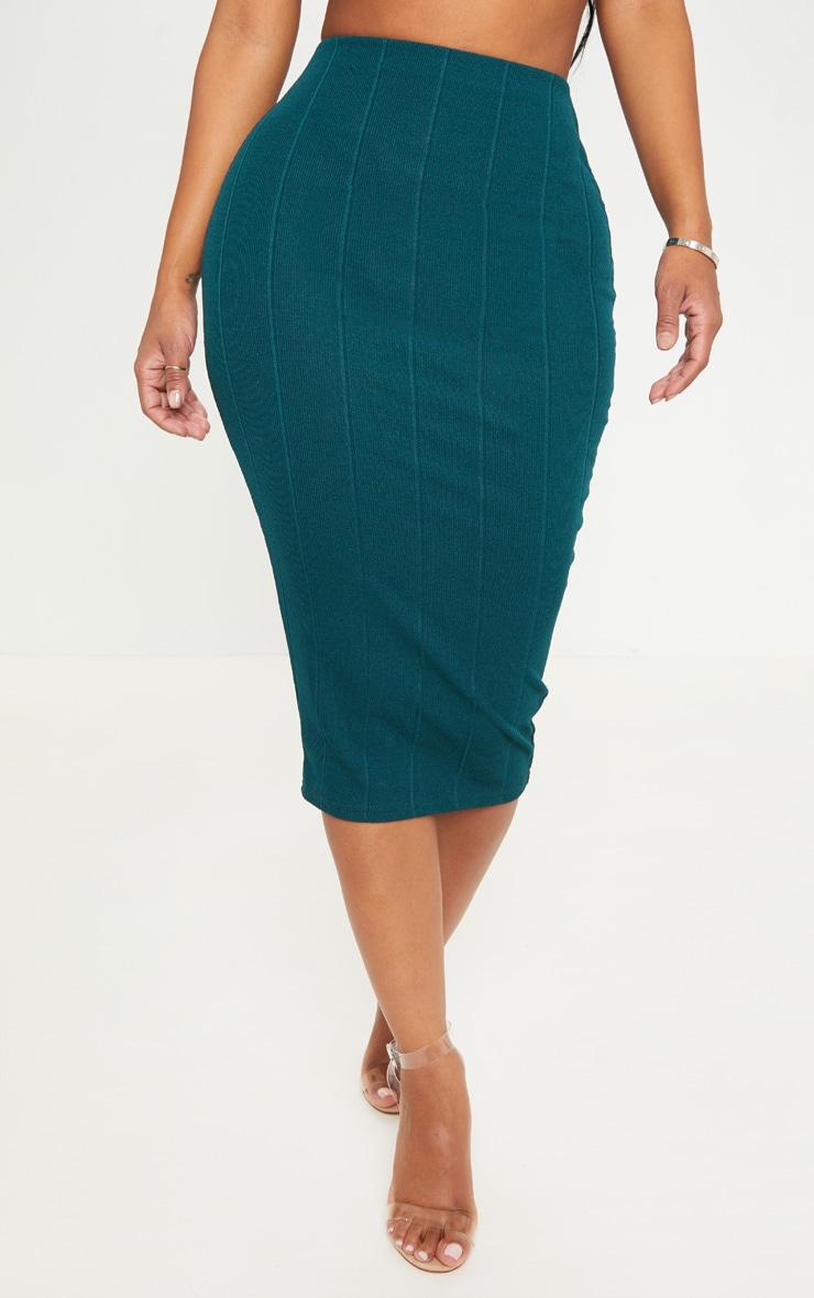 Shape Emerald Green Bandage Midi Skirt 2