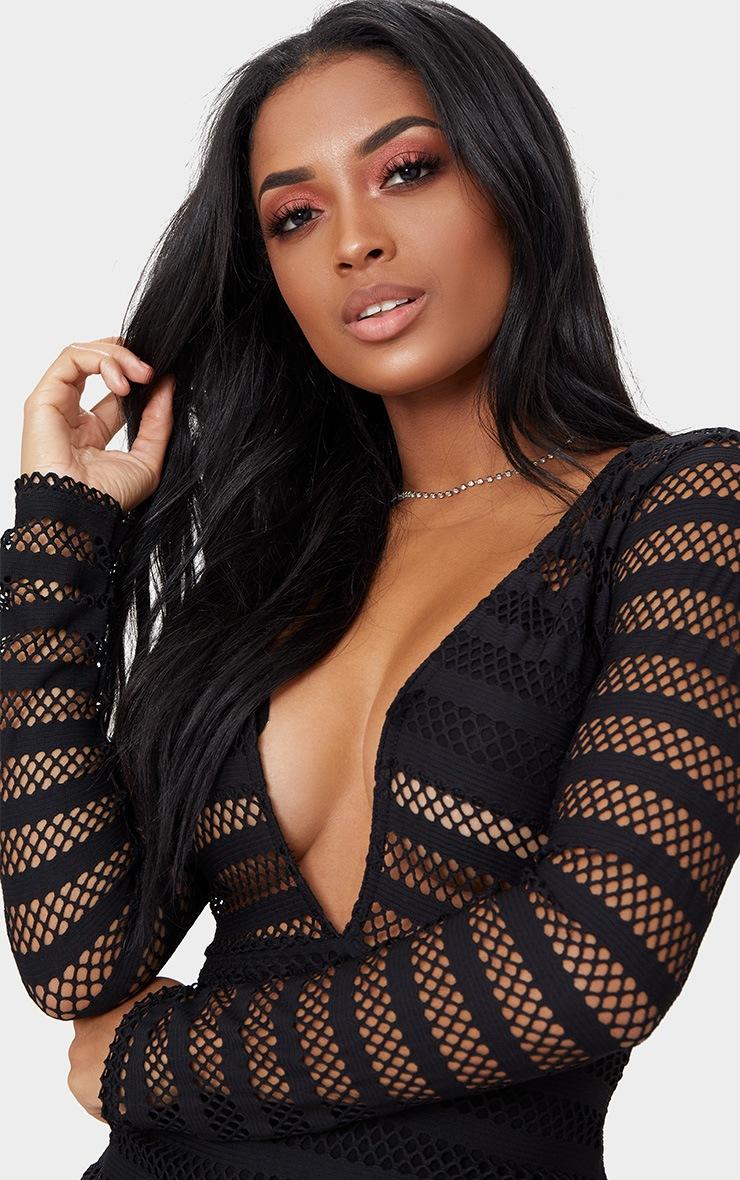 Shape  Black Sheer Plunge Midi Dress 5