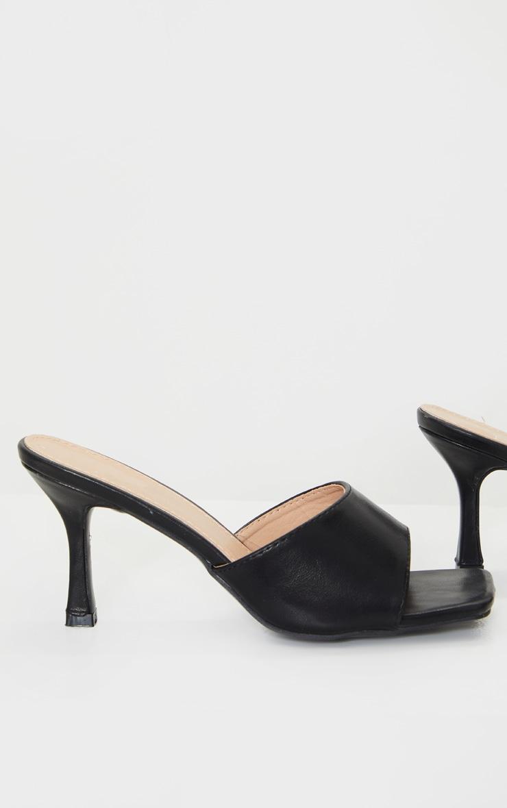 Black Square Toe Low Heel Mule 4
