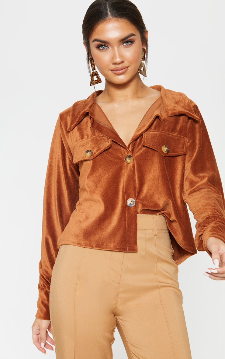 Rust Textured Rib Button Front Oversized Shirt 1