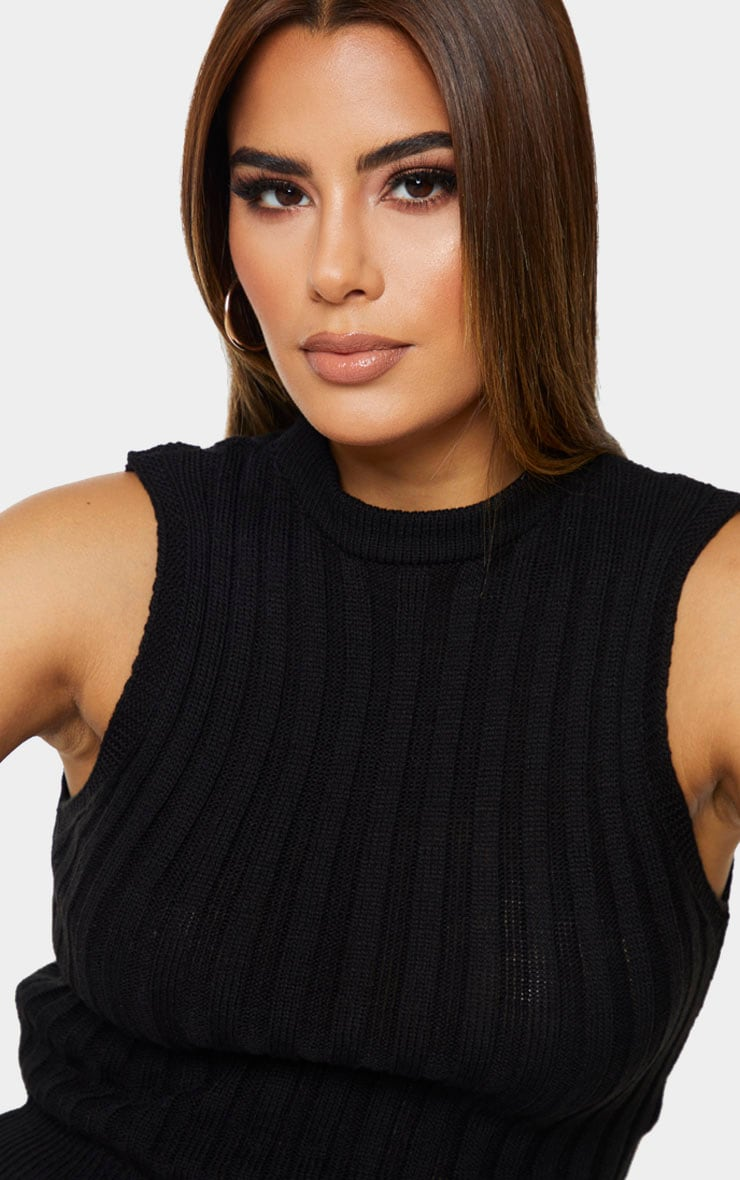 Tall Black Knitted Sleeveless Top 4