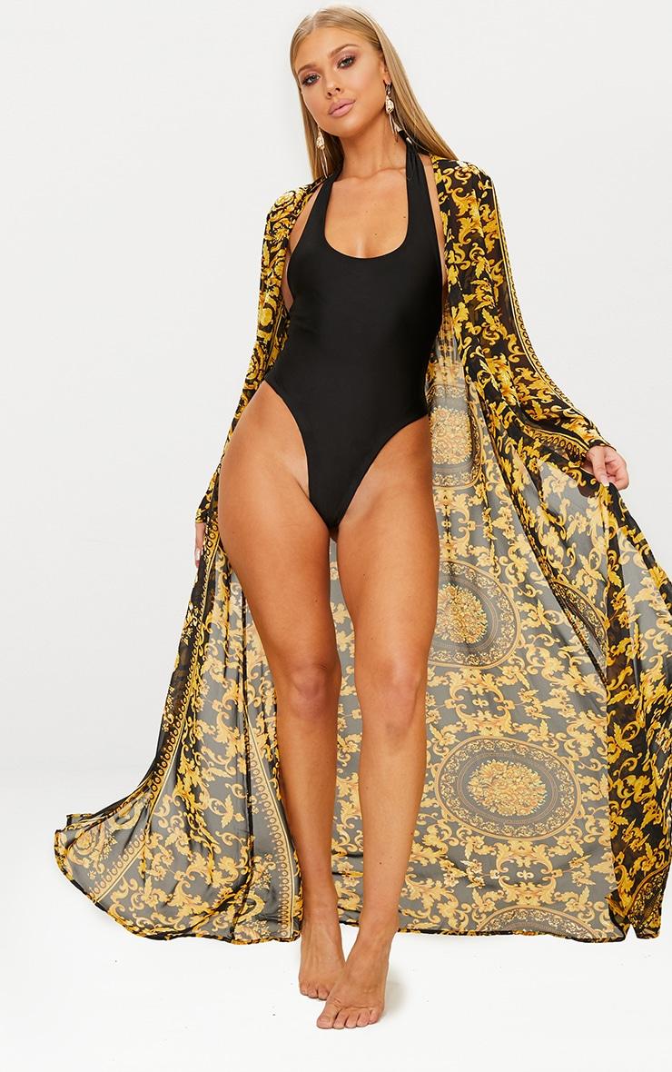 Kimono de plage noir imprimé chaîne 1