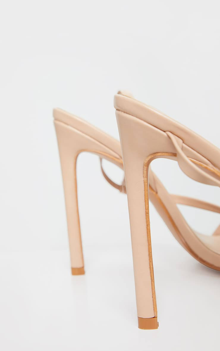 Nude Wide Fit Asymmetric Strap Point Toe Heeled Sandal 3
