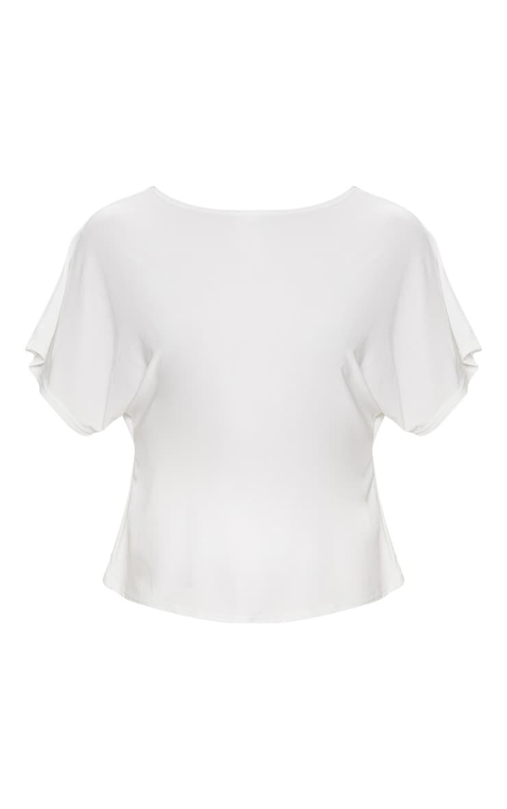 Cream Slinky Knot Back Batwing Crop Top 3