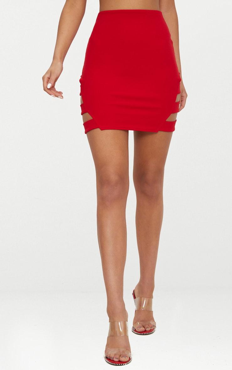 Red Crepe Ladder Mini Skirt 2