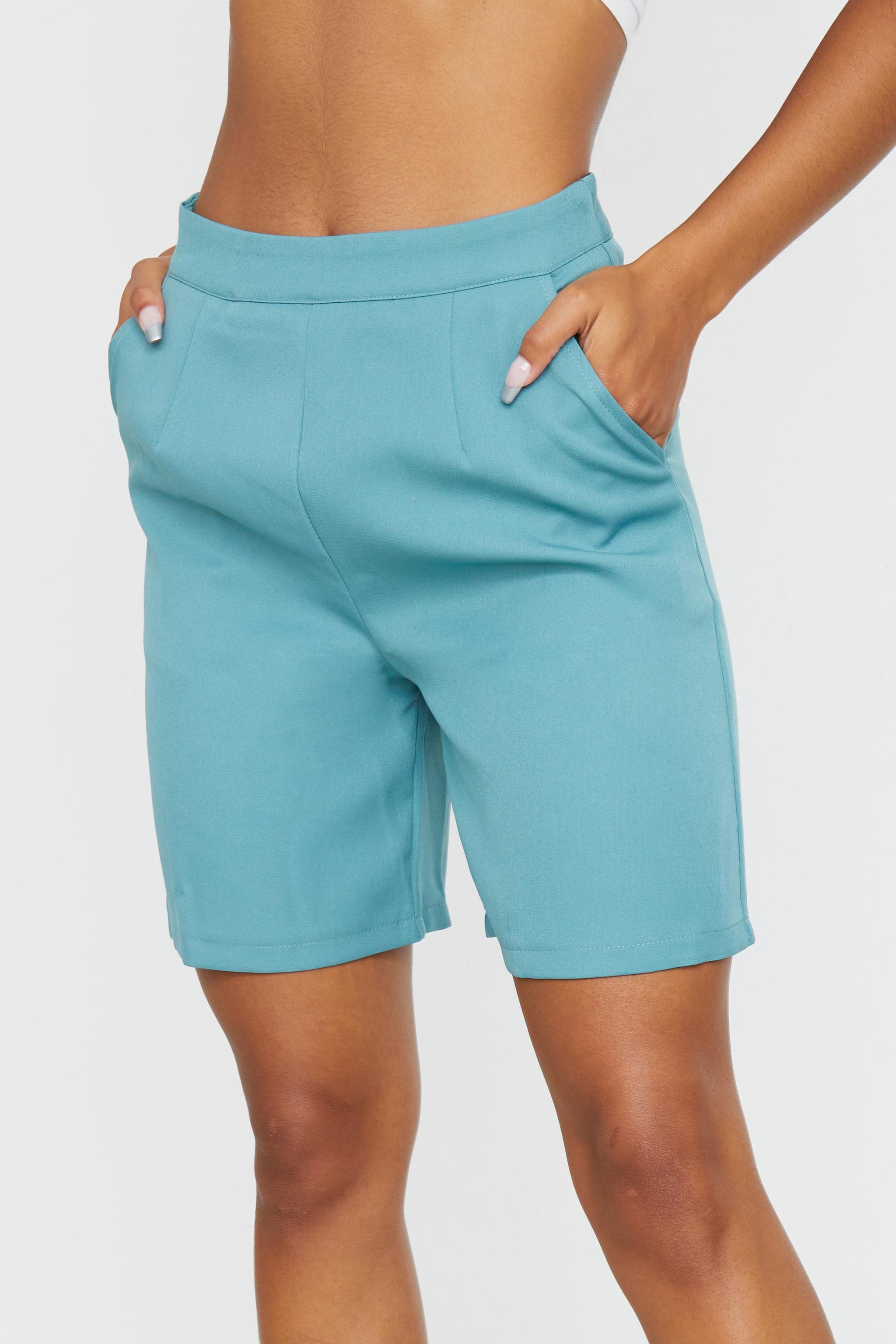 Sage Blue Woven Pocket Detail City Shorts 5