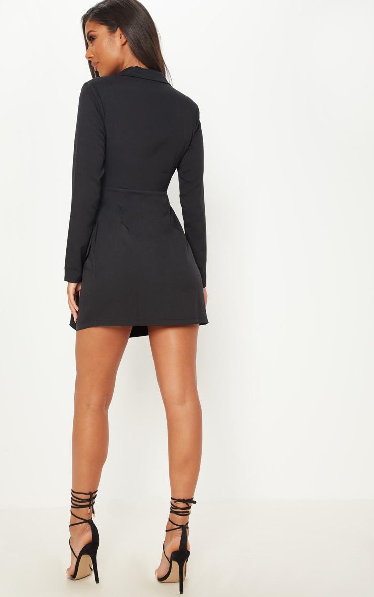 Black Satin Lapel Tie Waist Pocket Detail Blazer Dress 2