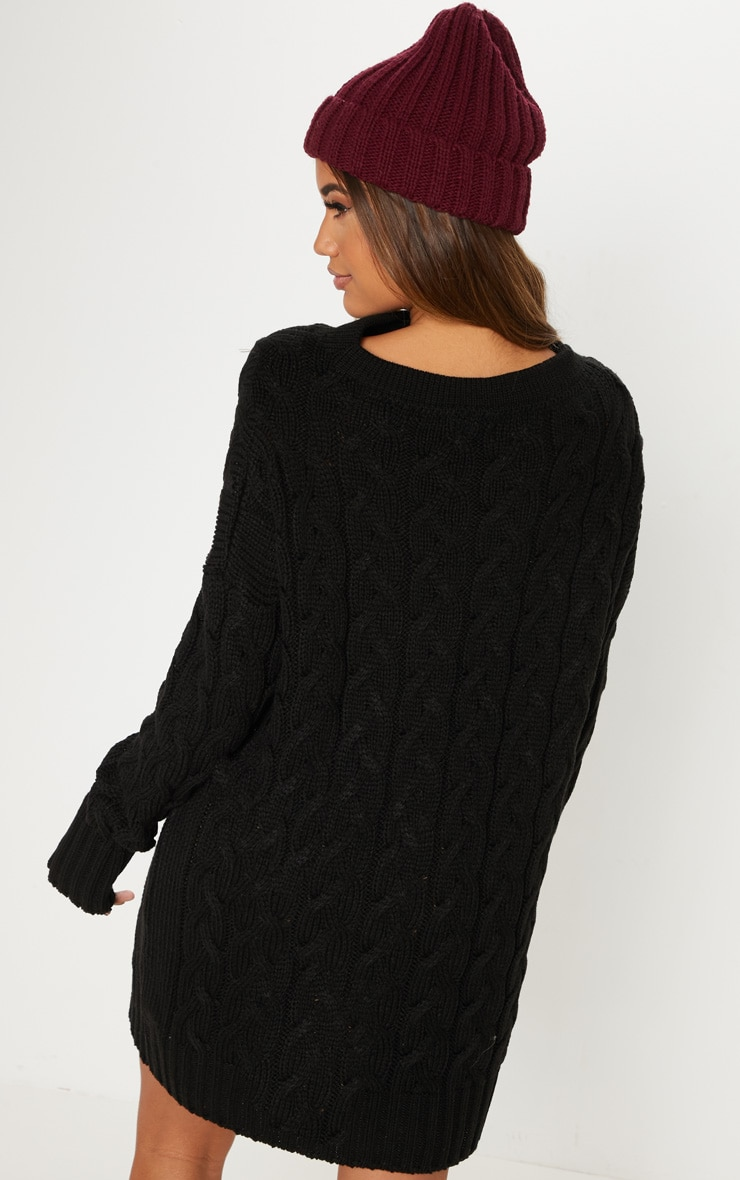 Black Cable Detail Knitted Jumper Dress  2