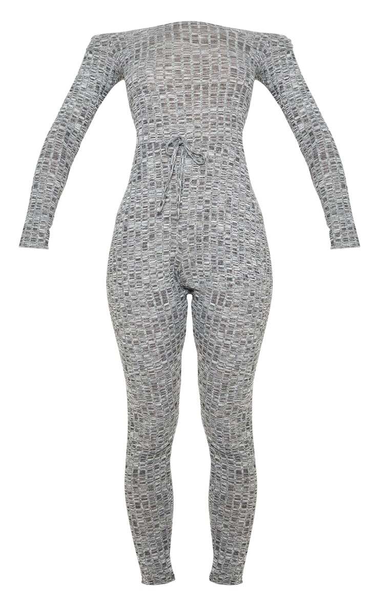 Dark Grey Rib Knitted Bardot Jumpsuit 3