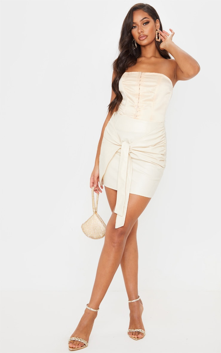 Cream Faux Leather Tie Front Mini Skirt  1