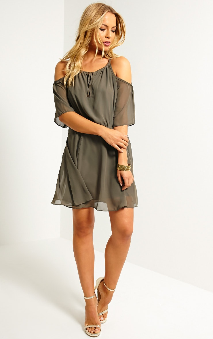 Emeline Khaki Cold Shoulder Skater Dress 3