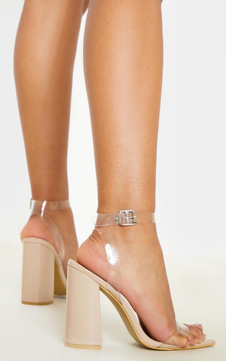 Nude Clear Strap Block Heel Point Toe Sandal 2