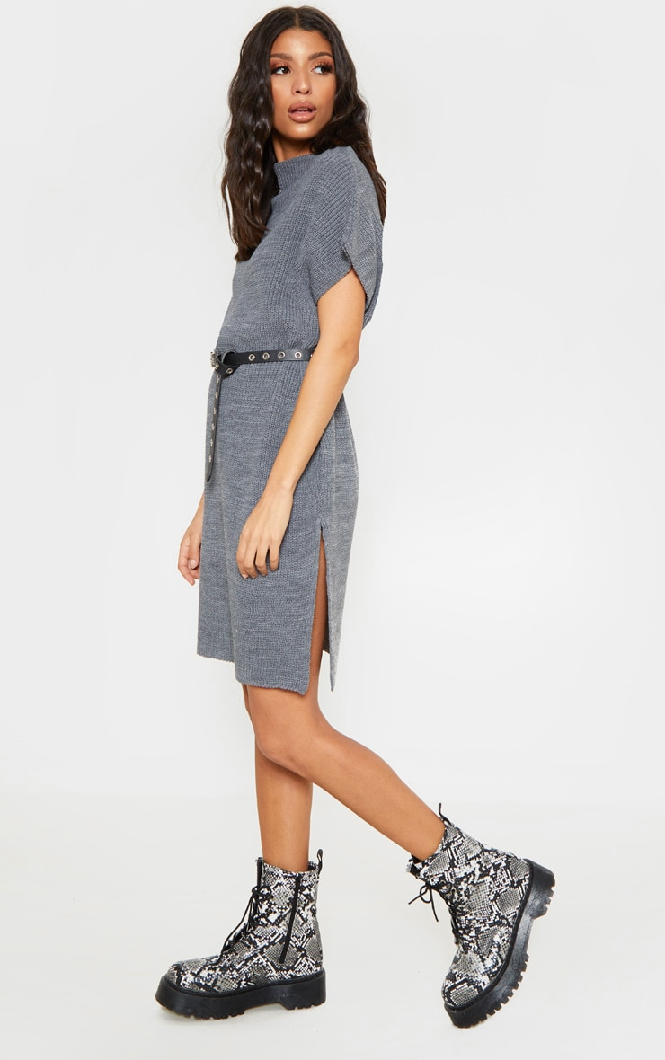 Charcoal Knitted Sleeveless Jumper Dress 1