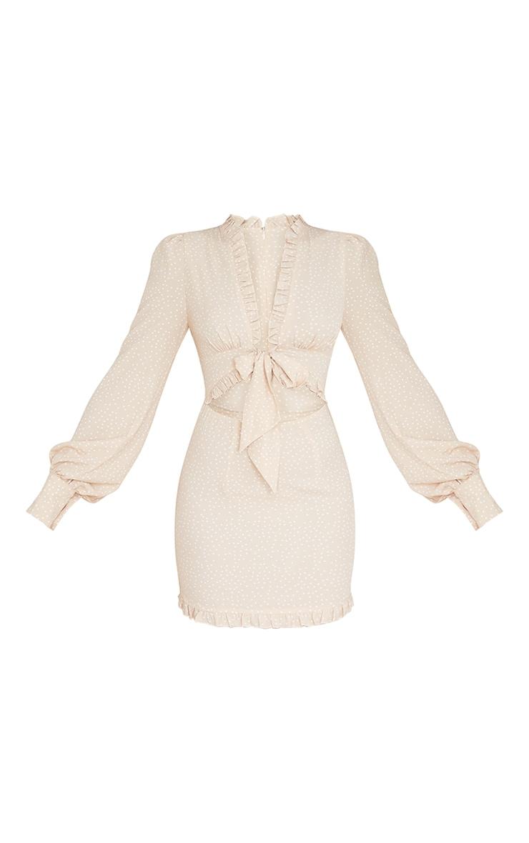 Stone Polka Dot Frill Tie Bust Detail Bodycon Dress 5