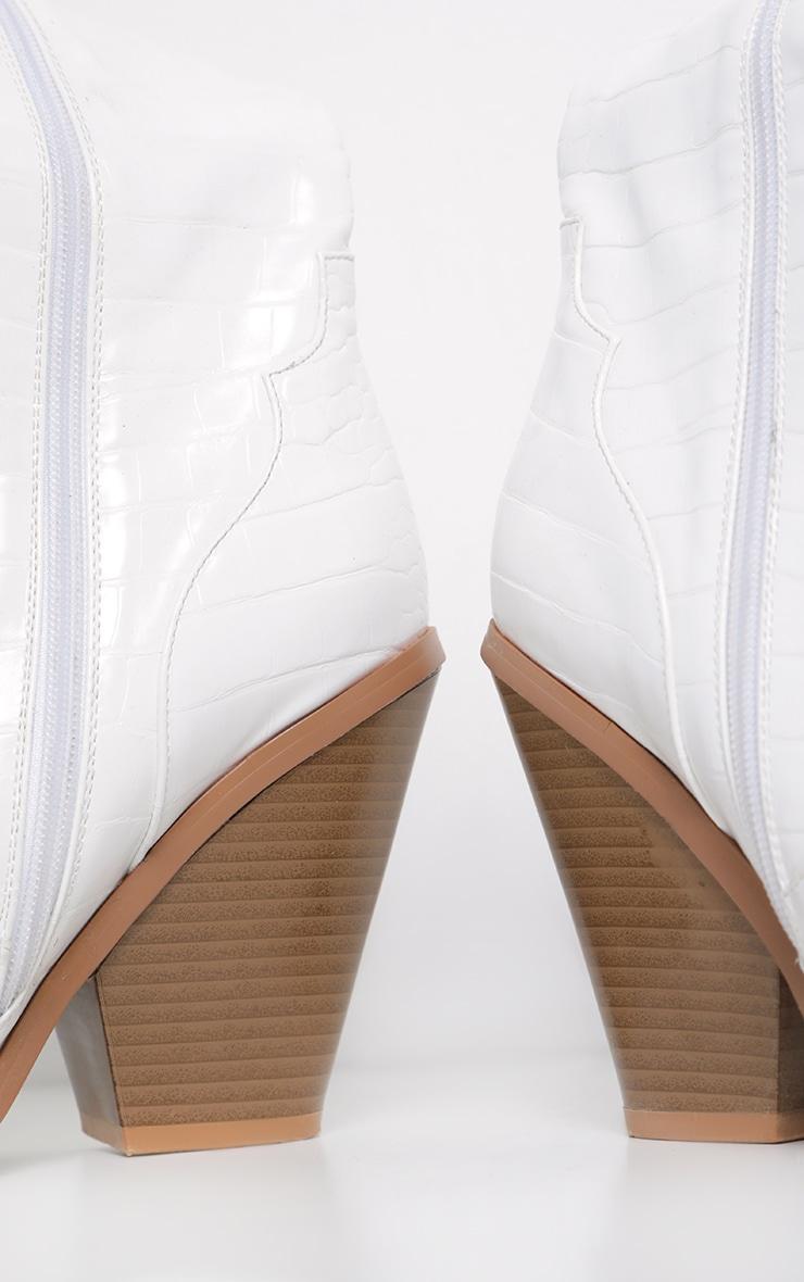 White Thigh High Croc Western Boot 3