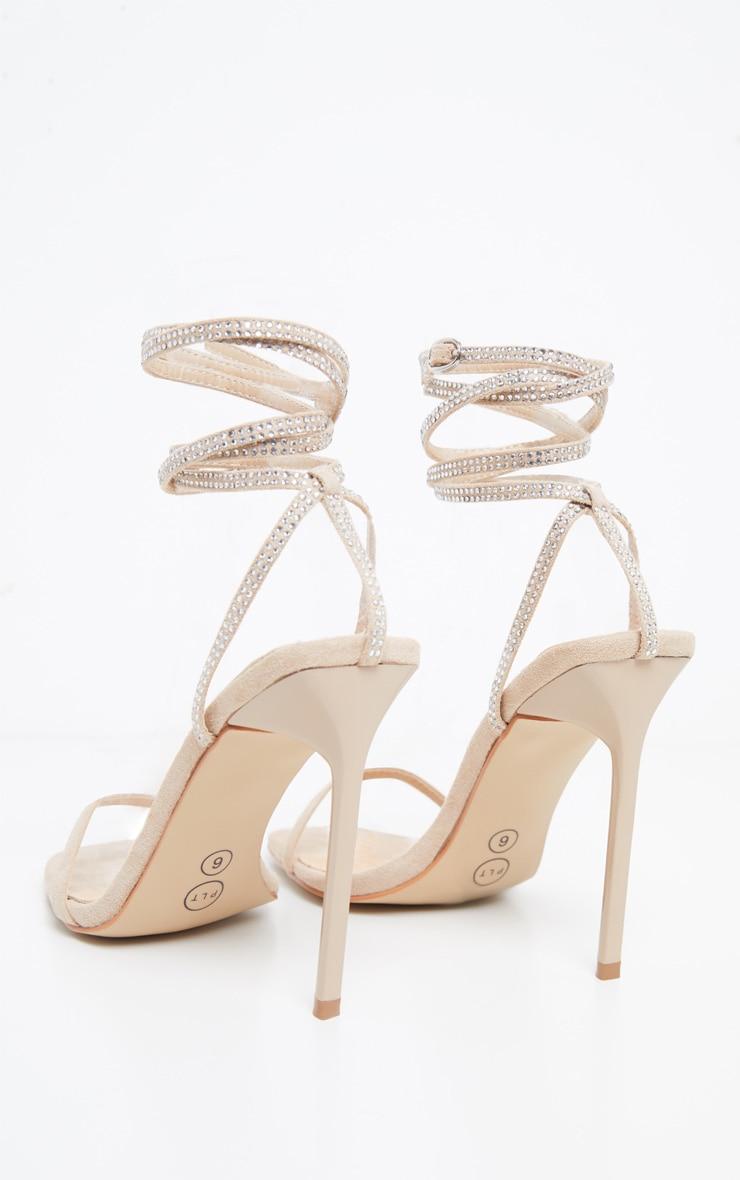 Nude Ankle Diamante Heel 4
