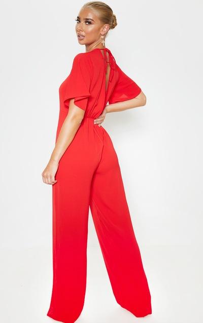 Red Twist Detail Short Sleeve Jumpsuit