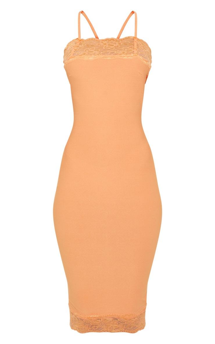 Tangerine Lace Trim Cross Back Midi Dress 3