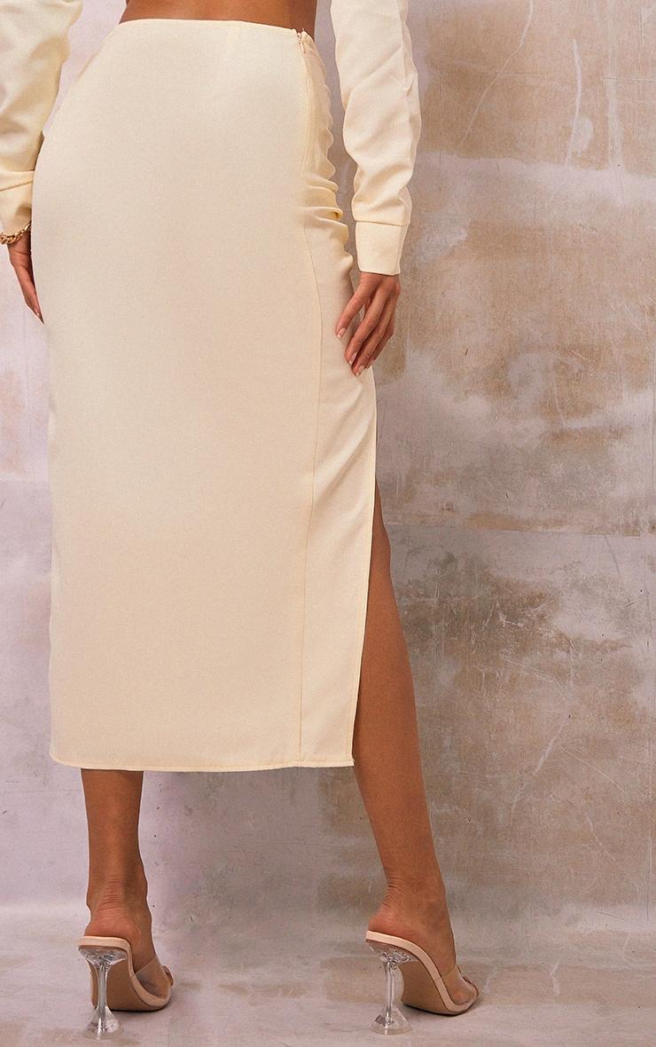 Cream Woven Ruched Tie Front Split Leg Midi Skirt 3