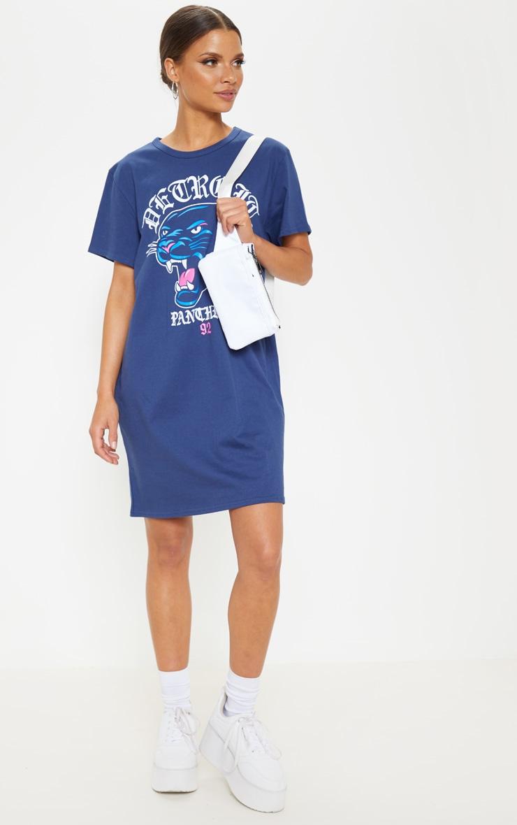 Navy Detroit Panther Slogan T Shirt Dress 1