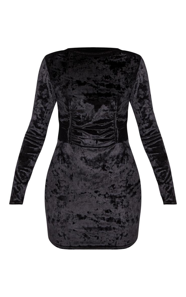 Black Velvet Ruched Binding Detail Long Sleeve Bodycon Dress 3