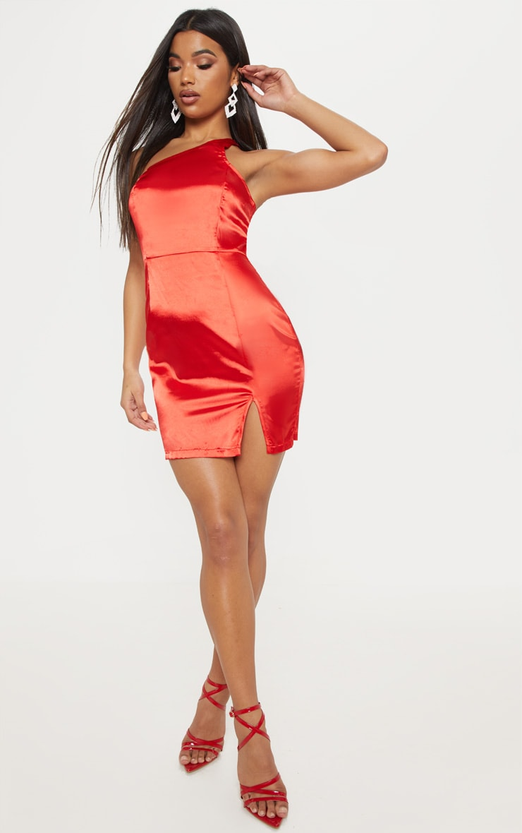 Red Satin One Shoulder Bodycon Dress 4