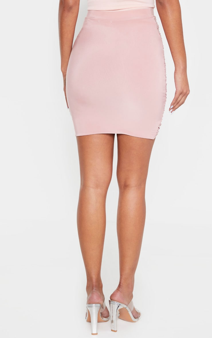 Dusty Rose Ruched Layered Slinky Mini Skirt 4