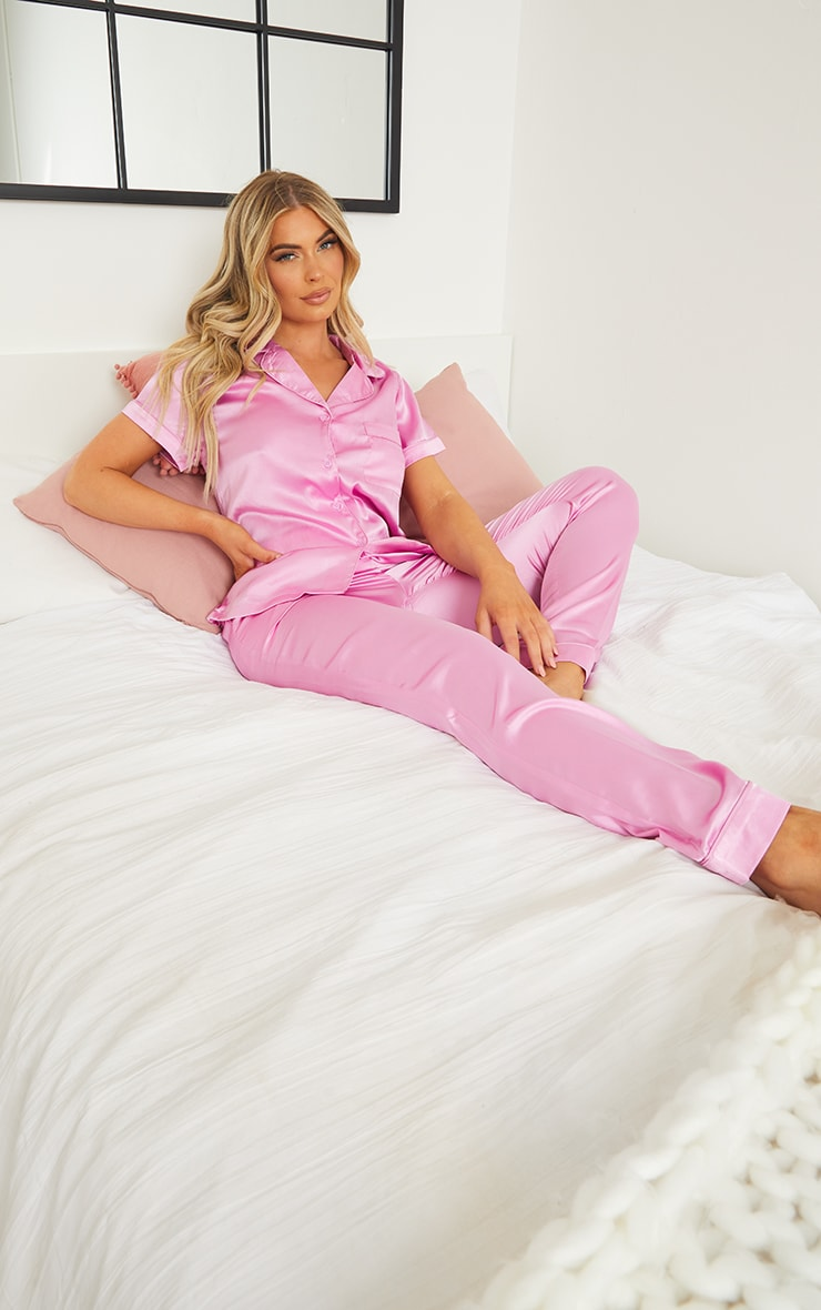 Dusty Pink Satin Short Sleeve Shirt And Trousers Pj Set 1