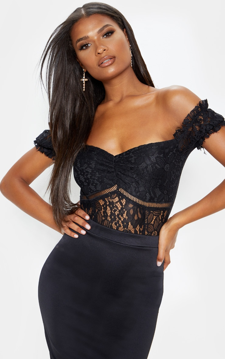 Black Bardot Lace Bodysuit 1