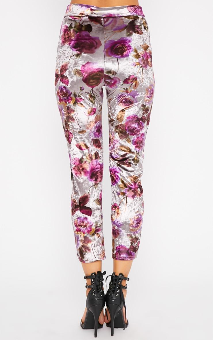 Prisa Purple & Grey Floral Print Velvet Trousers 4