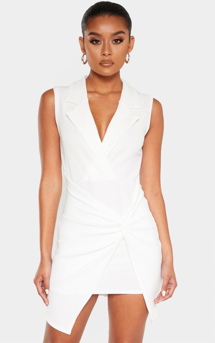 White Sleeveless Twist Front Plunge Blazer Dress 1