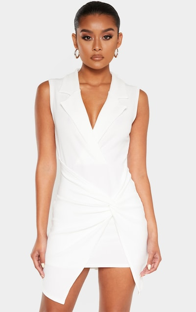 White Sleeveless Twist Front Plunge Blazer Dress
