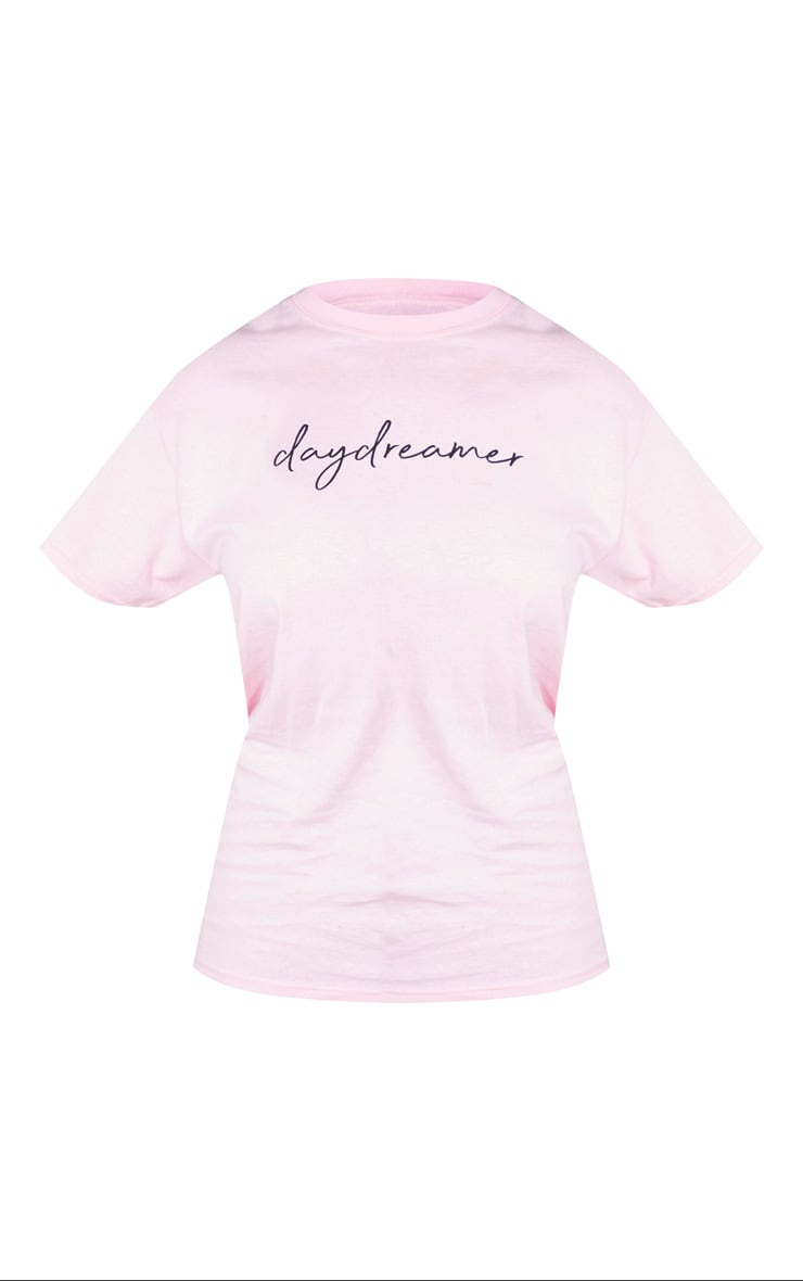 Baby Pink Day Dreamer Printed Oversized T Shirt 5