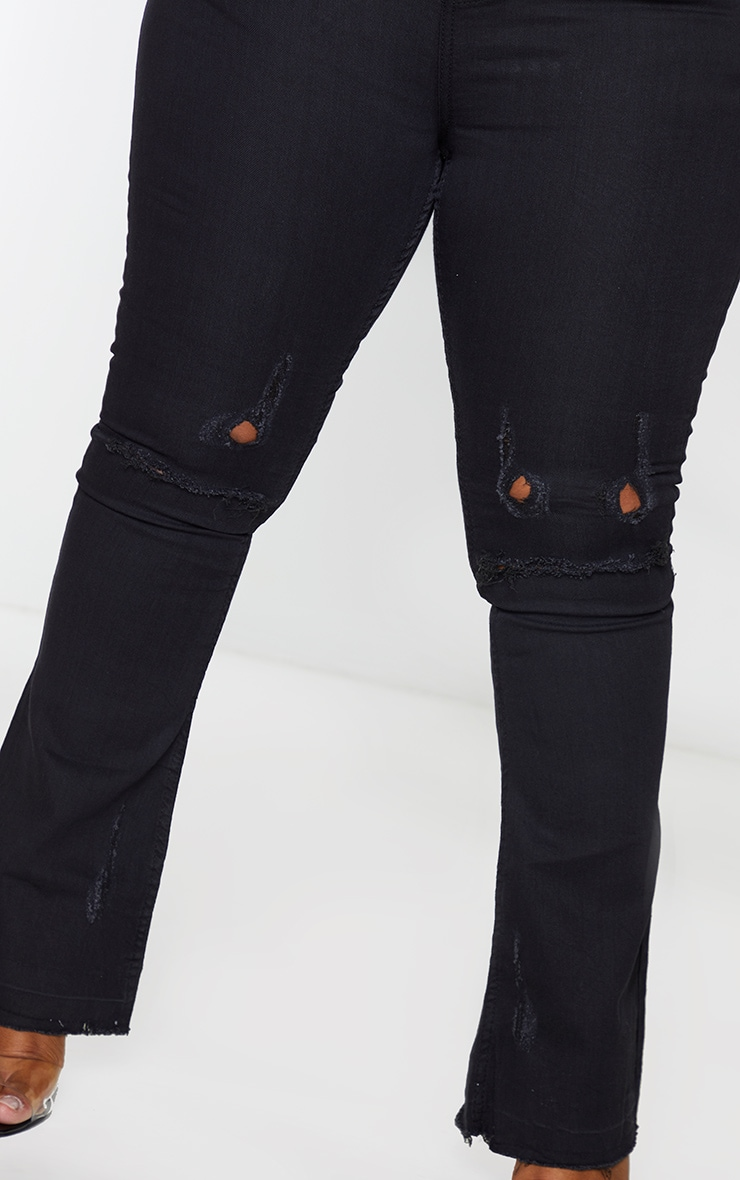 Plus Black Distressed Knee Flare Jean 4