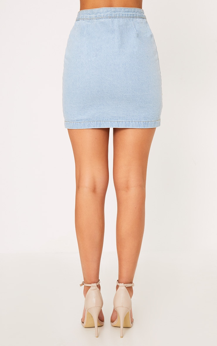Kaela jupe à boutons en jean délavage léger 2
