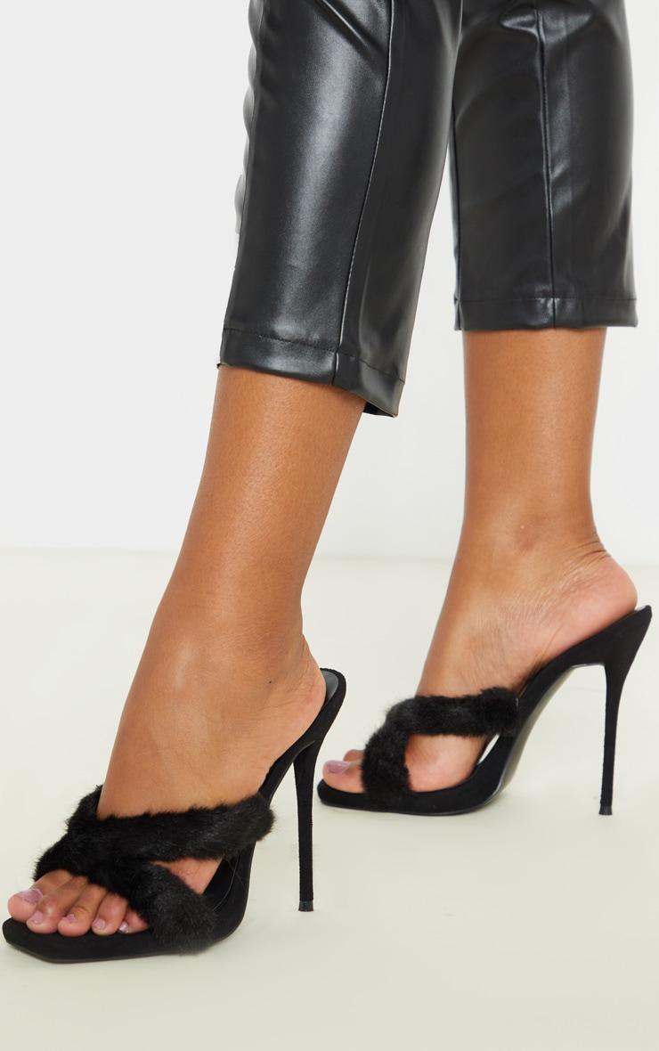 Black Cross Strap Faux Fur Mule Fur High Sandal 2