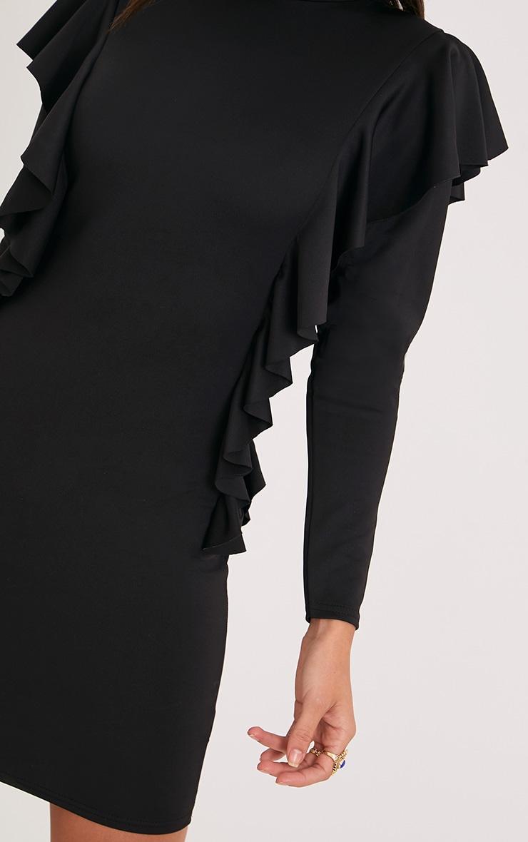 Addilyn Black Frill Detail Bodycon Dress 5