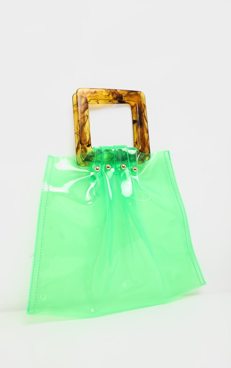 Lime Transparent Flat Tote Resin Handle Grab Bag 2