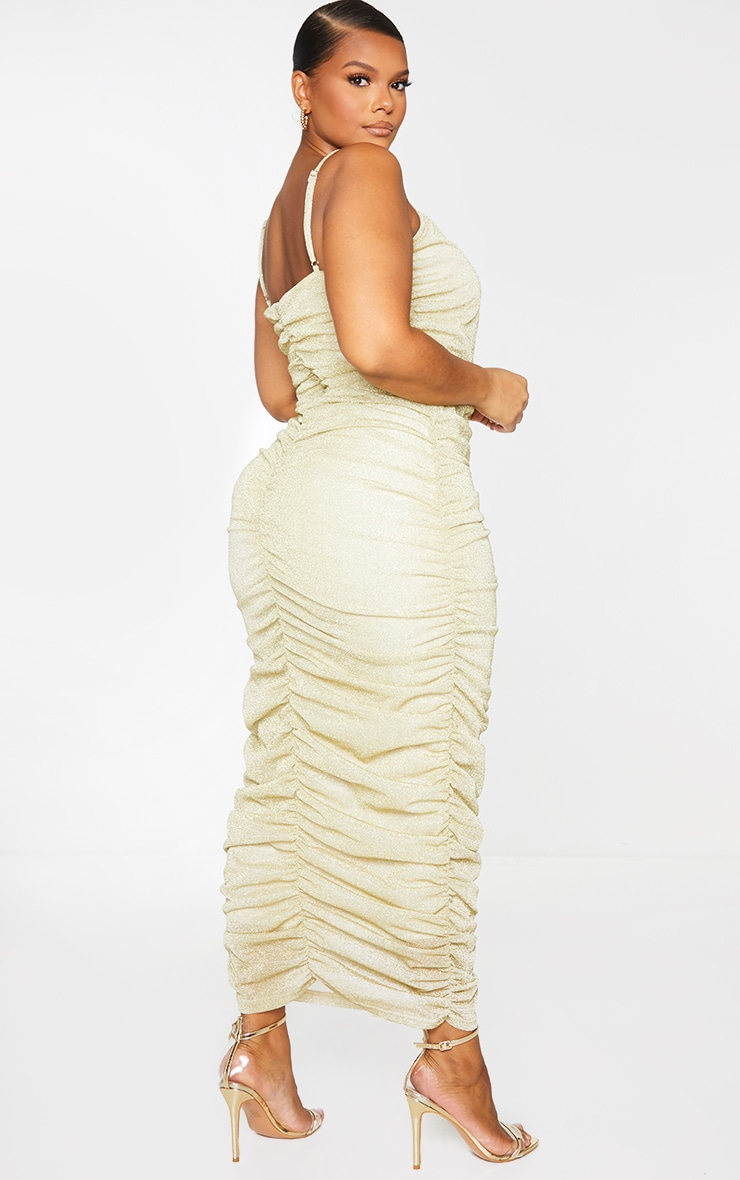 Plus Gold Glitter Ruched Midaxi Dress 1