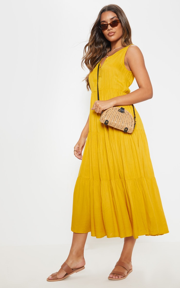 Mustard V Neck Tiered Midaxi Dress 4