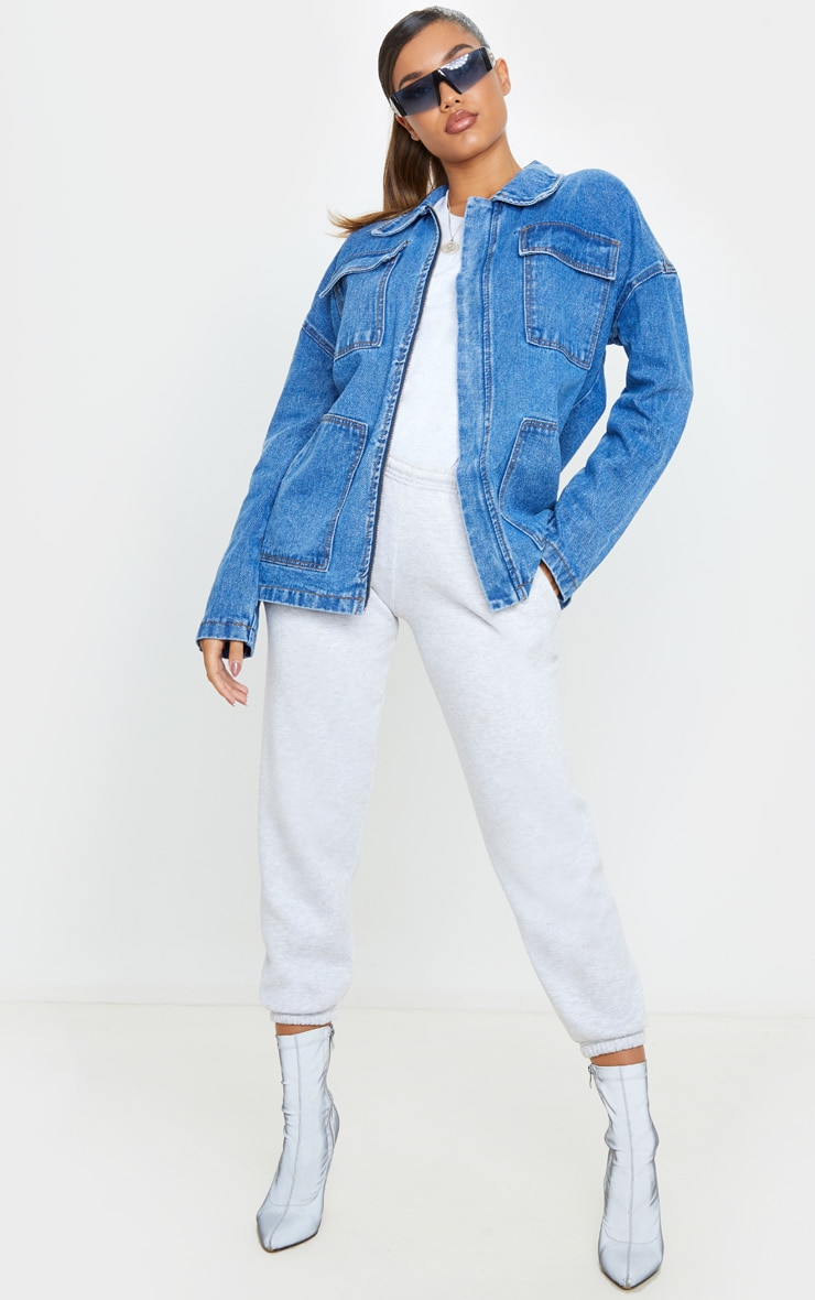 Mid Wash Oversized Boyfriend Trucker Denim Jacket 4