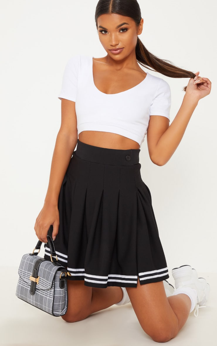 Black Contrast Track Stripe Pleated Tennis Skirt 5
