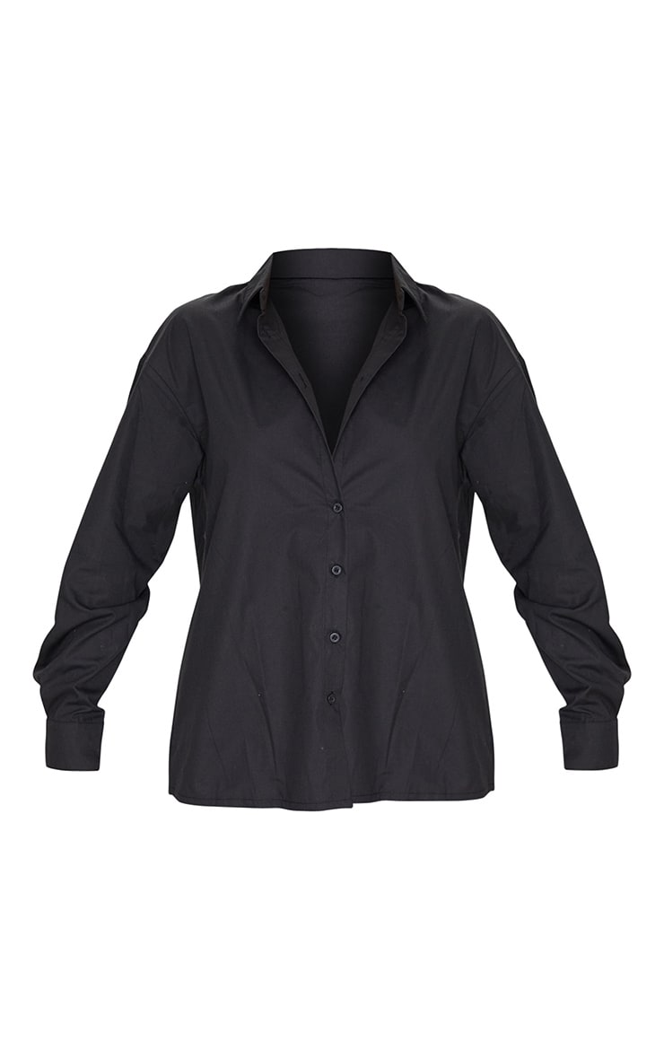 Black Button Cotton Oversized Shirt 5