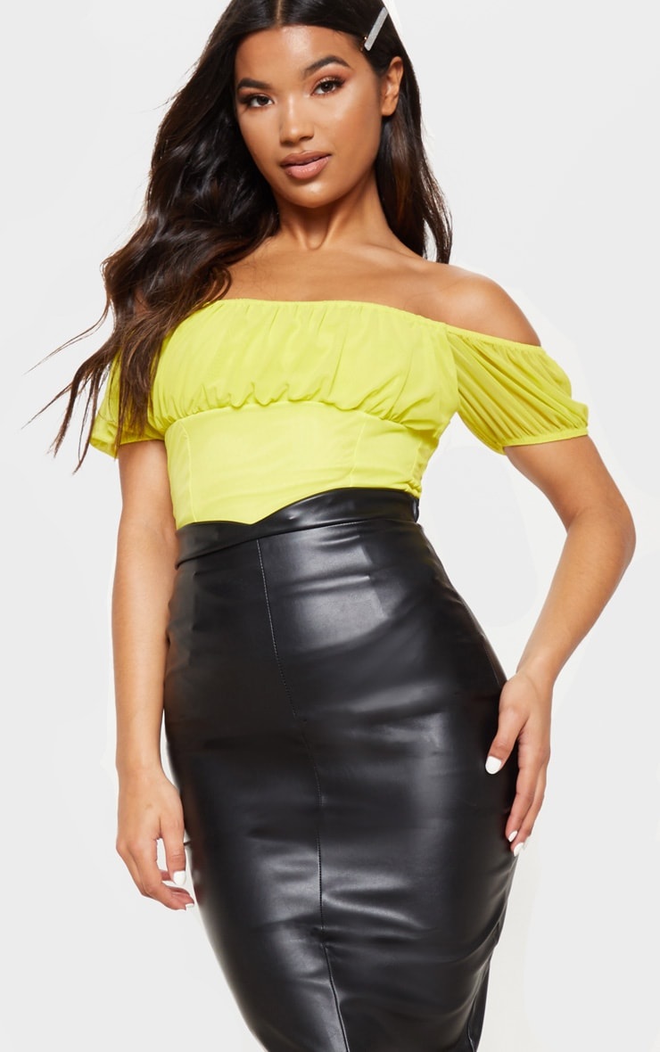 Eva Black Faux Leather Panel Midi Skirt 5